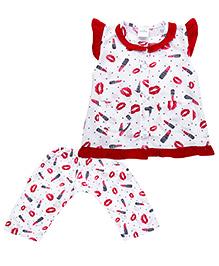 Babyhug Flutter Sleeves Night Suit Lipstick Print - Red White