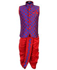 Babyhug Sleeveless Kurta And Dhoti Set Diamond Brooch - Red And Blue