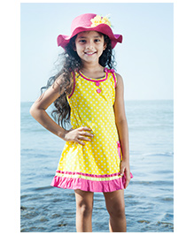 Cupcake Sleeveless Frock Polka Dots Print - Yellow
