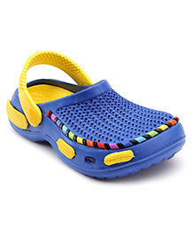 Cute Walk Clog With Multicolor Cover Strip - Blue And Yellow