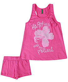 United Colors of Benetton Sleeveless Top And Shorts Floral Print - Pink
