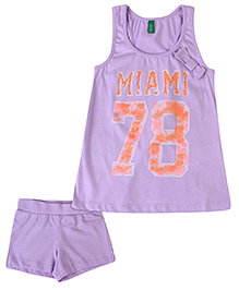 United Colors of Benetton Sleeveless Top And Shorts Miami Print - Purple