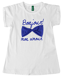 United Colors of Benetton Half Sleeves Top Bow Applique - White