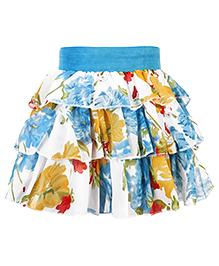 Babyhug Floral Print Short Skirt - Blue
