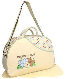 Mother Bag With Mat Baby Animal Embroidery - Light Cream