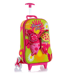 T-Bags Butterfly Design Trolley Bag Green - 16 Inches