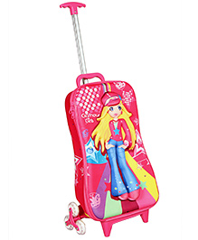 T-Bags Gorgeous Girl Design Trolley Bag Pink - 17 Inches