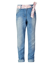 United Colors of Benetton Jeans With Fabric Belt - Blue