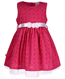 Baby League Sleeveless Frock Embroidered - Fuchsia