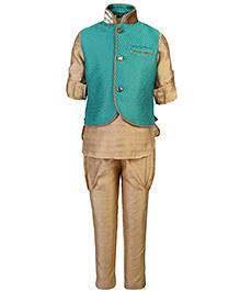 Little Bull Ethnic Kurta Pajama Jacket Set - Green And Golden