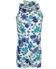 United Colors of Benetton Sleeveless Jumpsuit Floral Print - Off White Blue