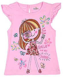 Babyhug Cap Sleeves Top Doll Print - Pink