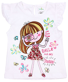Babyhug Cap Sleeves Top Doll Print - White