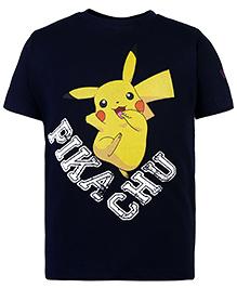 Pokemon Half Sleeves T-Shirt Pika Chu Print - Navy