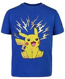 Pokemon Half Sleeves T-Shirt Pikachu Print - Blue