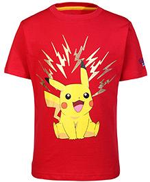 Pokemon Half Sleeves T-Shirt Pikachu Print - Red