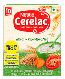 Nestle Cerelac Fortified Baby Cereal With Milk Wheat Rice Mixed Veg - 300 Gm