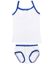 Babyhug Spagetti Top And Panty Set - White Royal Blue