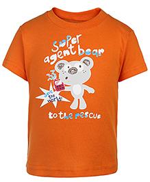 Zero Half Sleeves T-Shirt Super Agent Bear Print - Orange