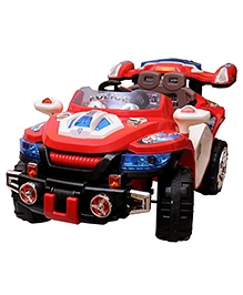 Happy Kids Battery Operated Ride On Police Car With Remote Control - Red