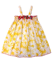 Campana Singlet Frock Smocked Pattern Floral Print - Yellow