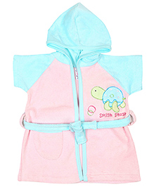 Pink Rabbit Hooded Bathrobe Tortoise Embroidery - Blue And Pink