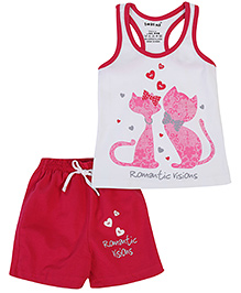 Doreme Racerback Top And Shorts Cat And Heart Print - Pink And White
