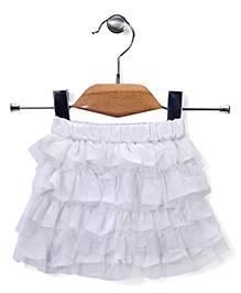 Babyhug Ruffled Party Wear Skirt - White