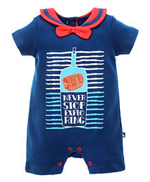 FS Mini Klub Half Sleeves Romper With Bow Applique - Navy
