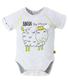 FS Mini Klub Half Sleeves Sheep Print Onesies - Grey