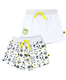 FS Mini Klub Set Of 2 Shorts With Abstract Print - White