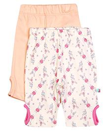 FS Mini Klub Three Fourth Keyhole Leggings Pack Of 2 - Peach And Cream