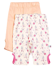 FS Mini Klub Three Fourth Keyhole Leggings Pack Of 2 - Peach And Cream