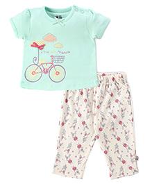 FS Mini Klub Short Sleeves Night Suit Cycle And Rabbit Print - Mint Green