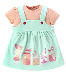 FS Mini Klub Sleeveless Frock With Inner Tee House Patch - Mint Green And Peach