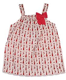 FS Mini Klub Singlet Top Umbrella Print - Cream And Cherry Red