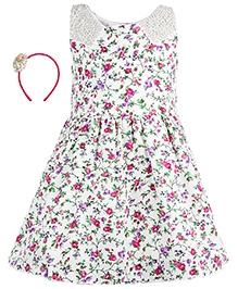 Gini & Jony Party Dress With Hair Band - Cream And Lavender Purple