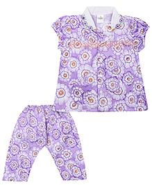 Babyhug Short Sleeves Night Suit Floral Print - Purple