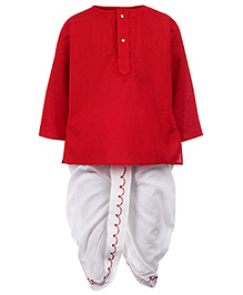 Babyhug Full Sleeves Kurta And Dhoti Embroidery - Red And White