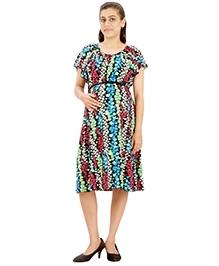Uzazi Flared Sleeve Maternity Dress - Multicolor