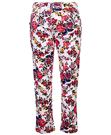 Babyhug Full Length Trouser Floral Print - White And Pink