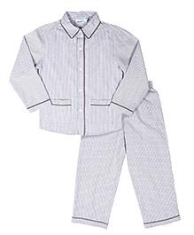 ShopperTree Full Sleeves Stripe Night Suit - Light Brown