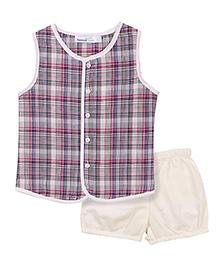 ShopperTree Sleeveless Multi Check T-Shirt With Shorts - Cream