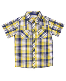 ShopperTree Half Sleeves Check Print Shirt - Yellow
