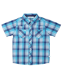 ShopperTree Half Sleeves Check Print Shirt - Blue
