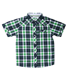 ShopperTree Half Sleeves Check Print Shirt - Green