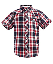 ShopperTree Half Sleeves Check Print Shirt - Red