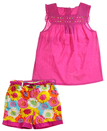 ShopperTree Sleeveless Top With Floral Print Short Set - Pink