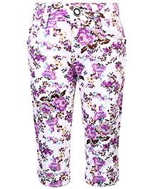 Babyhug Capri Floral Print - White And Purple