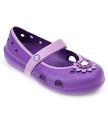 Crocs Clog With Floral Applique - Purple